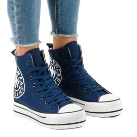Sneakers blu scuro con zeppa W08 marina