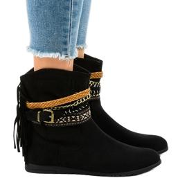 Gemre Stivali in camoscio nero con frange T88