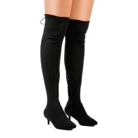 Gemre nero Stivali da donna in pelle scamosciata con tacco L6838