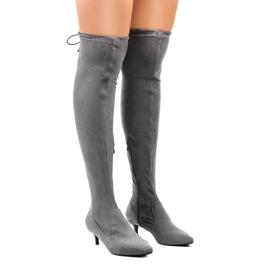Gemre grigio Stivali da donna in pelle scamosciata con tacco L6838