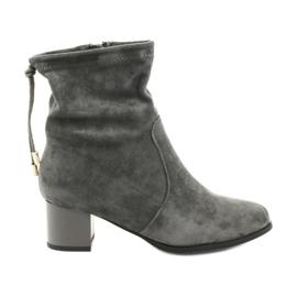 Stivali con tacco alto in pelle scamosciata Daszyński SA58 grigio