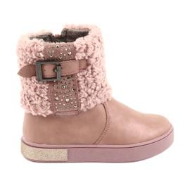 American Club Stivali con pelliccia sulla cerniera rosa