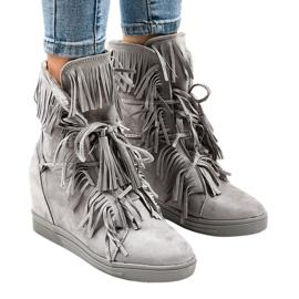 Sneakers con zeppa grigie con frange H6600-36