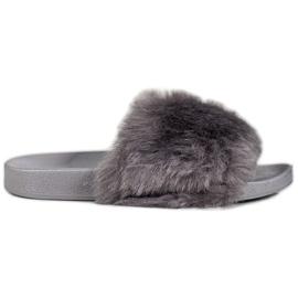 Bona Pantofole con pelliccia grigio