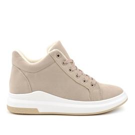 Sneaker beige isolata TL133-5 marrone