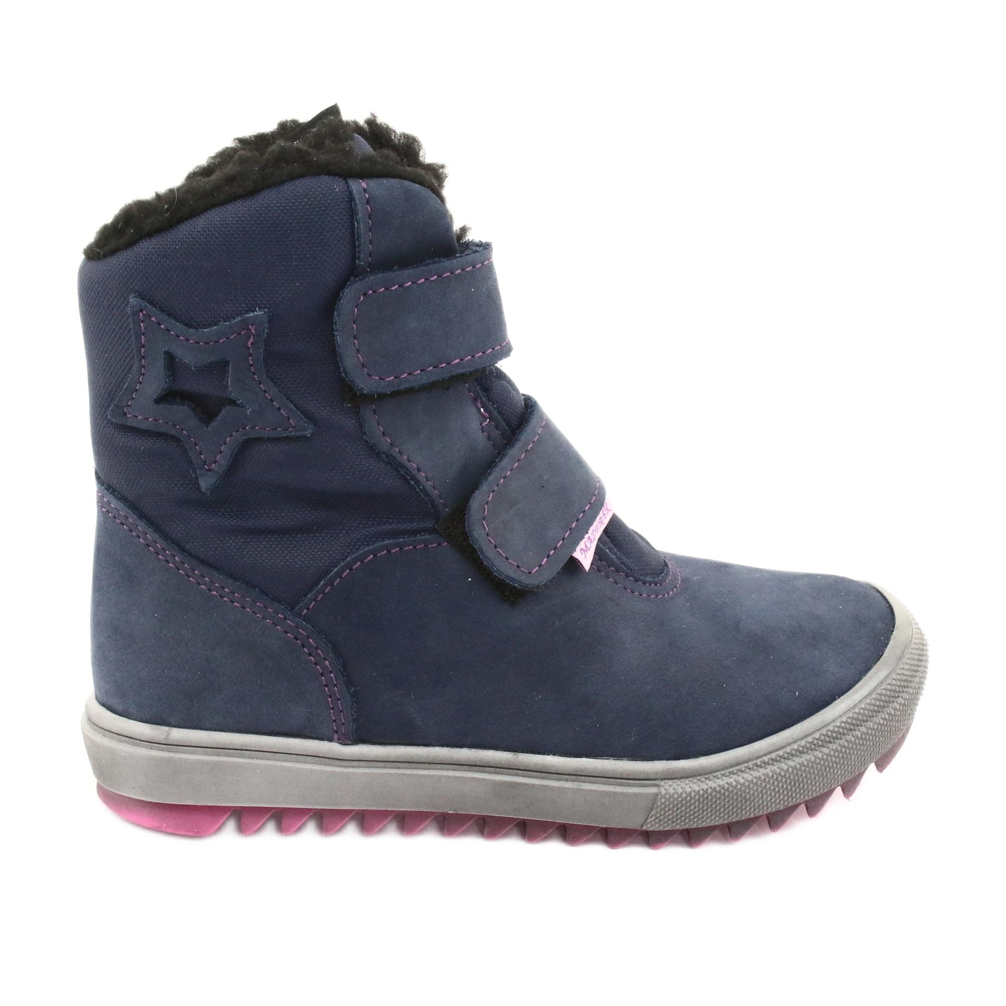 Stivali con una membrana Mazurek 1353 blu scuro marina rosa