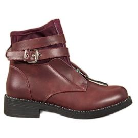 SHELOVET Stivali con cerniera bordeaux rosso