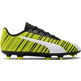 Scarpe da calcio Puma One 5.4 Fg Ag Jr 105660 03 bianco, nero, giallo giallo