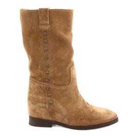 Stivali di camoscio con zeppa Badura 9441 marrone