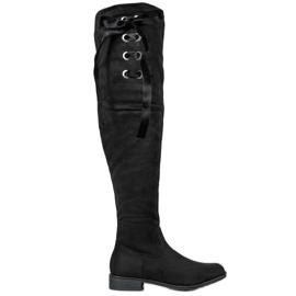 Ideal Shoes Stivali alti con fiocco nero