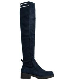 Ideal Shoes Stivali scamosciati slip-on blu