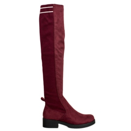 Ideal Shoes Stivali scamosciati slip-on rosso