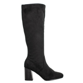 Filippo Eleganti stivali in pelle scamosciata nero