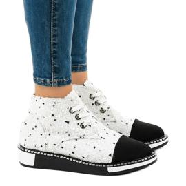 Stivali con i lacci bianchi TS1811 bianco