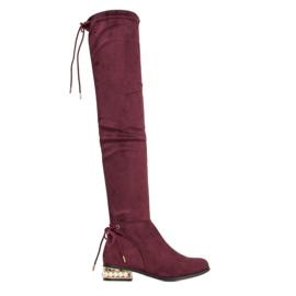 Cm Paris Stivali alti con tacco decorativo rosso
