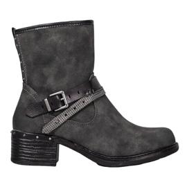 SHELOVET Stivali alti con fibbia grigio