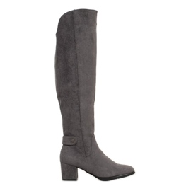 Goodin Stivali caldi sopra il ginocchio grigio
