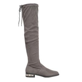Bestelle Stivali alti con tacco decorativo grigio