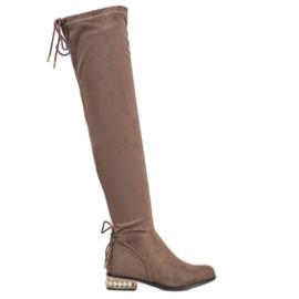 Cm Paris Stivali alti con tacco decorativo marrone