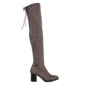 SHELOVET Stivali in pelle scamosciata sopra il ginocchio grigio