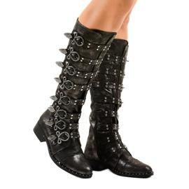 Stivali neri riccamente decorati NC271 nero