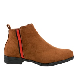 Stivali piatti da donna marroni con pelliccia C08 marrone