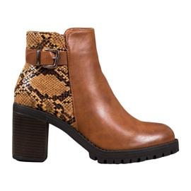 Seastar Stivali sulla piattaforma con stampa serpente marrone
