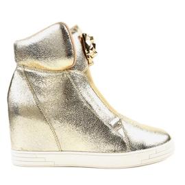 Sneakers dorate sul giaguaro con zeppa KLS-105-5 giallo