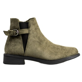 Ideal Shoes Stivali di pelle scamosciata verde