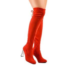 Stivali di camoscio rosso sul palo BM177