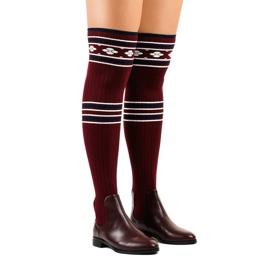 Stivali alti fino a calza marrone rossiccio 29-7 rosso