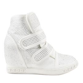 Sneakers con zeppa bianche KLS-112-3 bianco