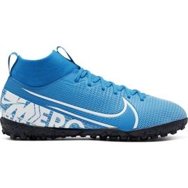 Scarpe da calcio Nike Mercurial Superfly 7 Academy Tf Jr AT8143 414 blu bianco, blu