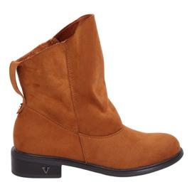 Stivali con tomaia increspata cammello 6672 Cammello marrone