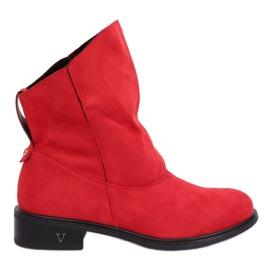 Stivali con tomaie increspate rosso 6672 Rosso