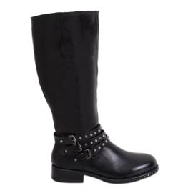 Stivali da donna neri con borchie nero Y208 nero II qualità