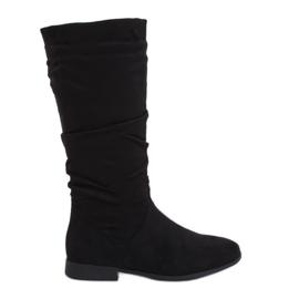 Stivali neri con tacco piatto M629 Nero