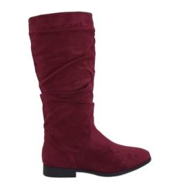Stivali tacco piatto M629 rosso