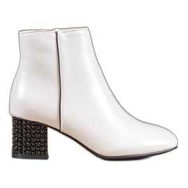 SHELOVET Stivali Bianchi Con Tacco Decorativo bianco