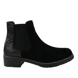 Stivali piatti in camoscio nero con stella SHN2221