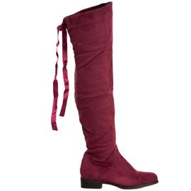 SHELOVET Stivali di camoscio con rilegatura rosso