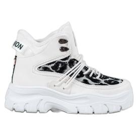 SHELOVET Sneaker con stampa leopardo bianco