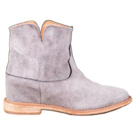 Bella Paris Stivali da cowboy in pelle scamosciata grigio