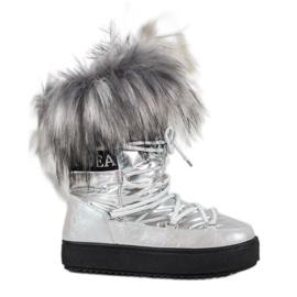 Bella Paris Stivali da neve caldi con pelliccia grigio