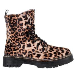 SHELOVET Stampa leopardo suede Workers marrone