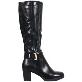 SHELOVET Stivali eleganti con fibbia nero
