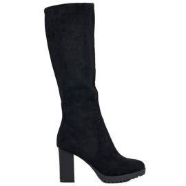 SHELOVET Stivali di camoscio nero