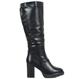 SHELOVET Stivali neri con ecopelle nero