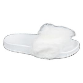 SHELOVET Pantofole Di Gomma Con Pelliccia bianco