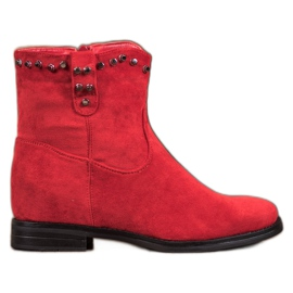 Ideal Shoes Stivali da cowboy caldi con strass rosso